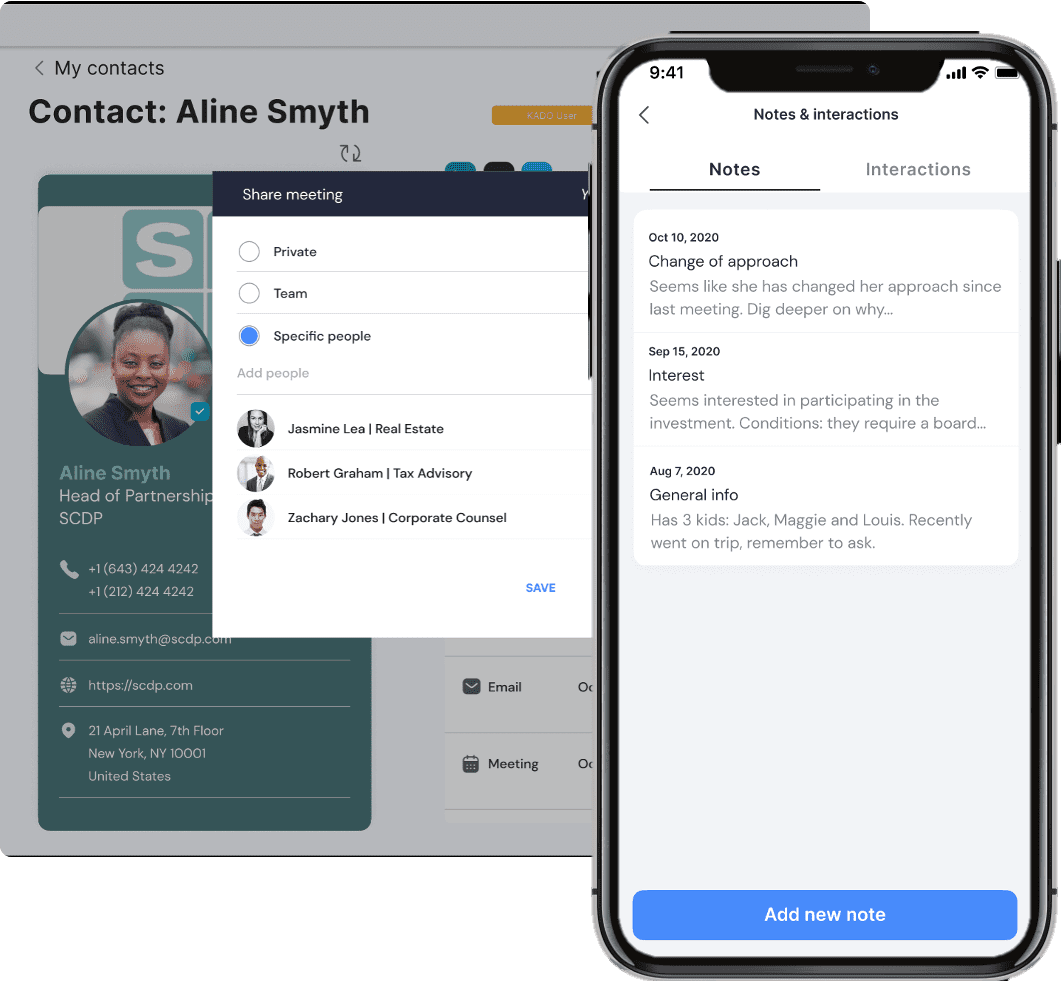 contact, note and interaction management with team sharing functionalities