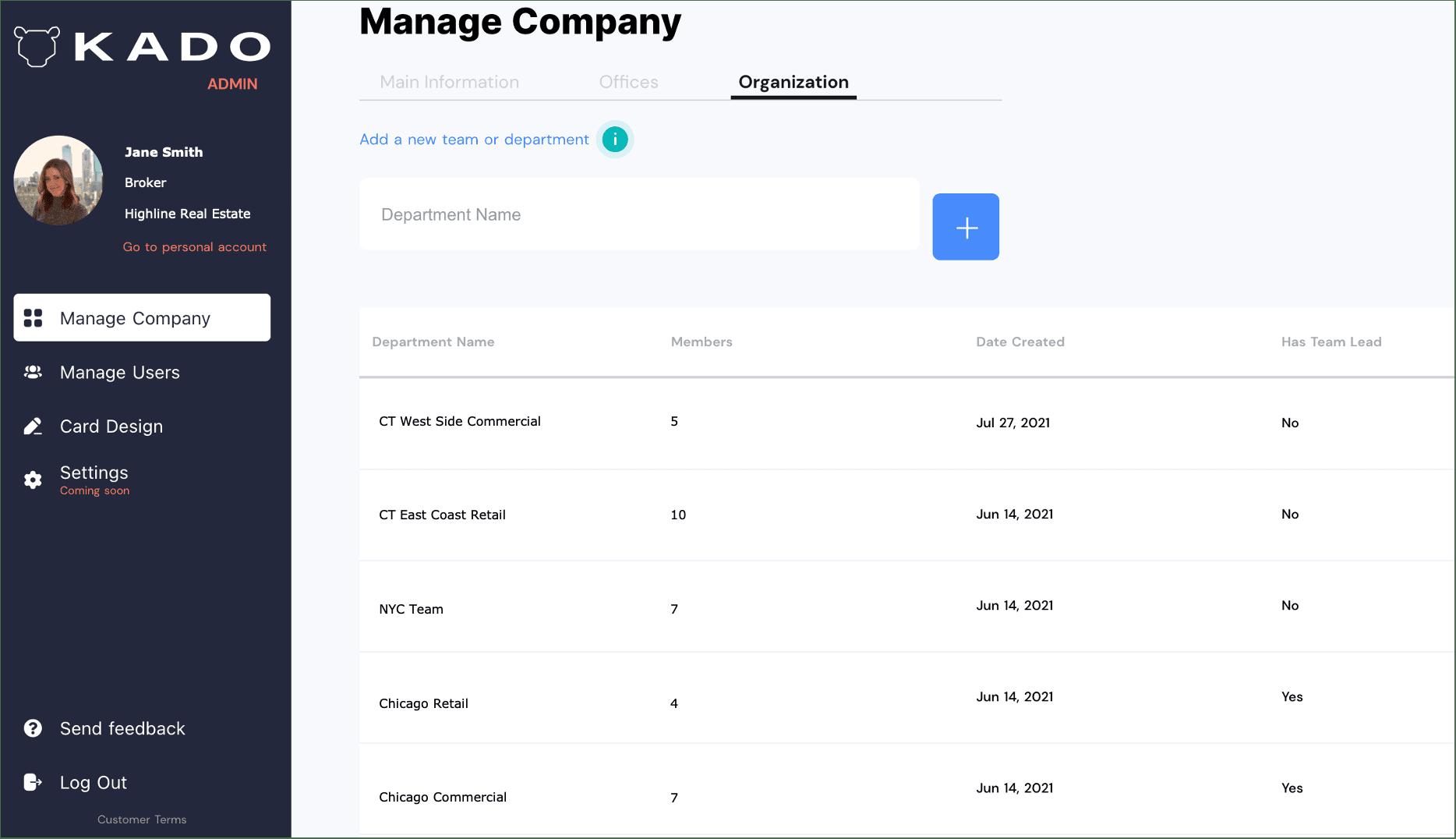 administrator team management screen